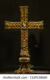 Aachen, Germany - August 3 2014: The Cross of Lothair (german: Lotharkreuz) is a jewelled processional cross, dating about 1000 AD.