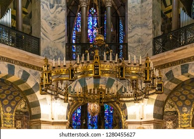 Aachen, Germany - August 3 2014: The Barbarossa Chandelier (german: Barbarossaleuchter) in the Palatine Chapel of the Imperial Cathedral