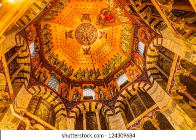 AACHEN, GERMANY - DEC 20: Ceiling of the Palatine Chapel, part of the Cathedral of Aachen and constructed by Charles the Great (Charlemagne) around 792, on December 20, 2012 in Aachen, Germany.