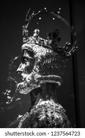 AACHEN, GERMANY - DECEMBER 07, 2016: Bust of Charlemagne in the Aachen Cathedral Treasury containing Charlemagne's skullcap, in Aachen - the imperial residence of Charles the Great, black and white