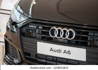 Aachen, Germany December 12, 2018: Close up shot of the new Audi A6 avant quattro with audi rings logo in focus