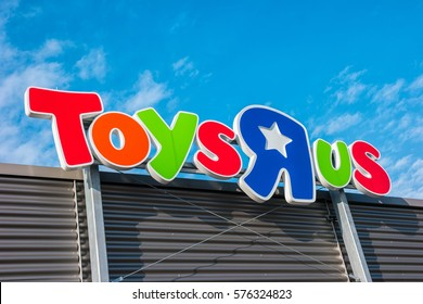 """AACHEN, GERMANY FEBRUARY, 2017: Toys """"R"""" Us store. Toys """"R"""" Us is a chain of toy shops created in the United States."""