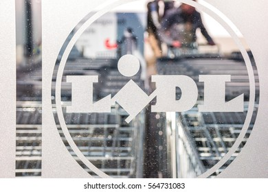 AACHEN, GERMANY JANUARY, 2017: LIDL supermarket chain Logo with Shopping carts. LIDL is a German global discount supermarket chain, based in Neckarsulm, Baden-Wuerttemberg, Germany.