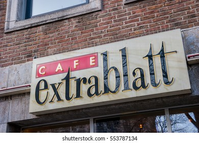 """AACHEN, GERMANY JANUARY, 2017: the logo of """"Cafe extrablatt"""". Cafe Extrablatt is a German company of the Systemgastronomie, located in Emsdetten."""