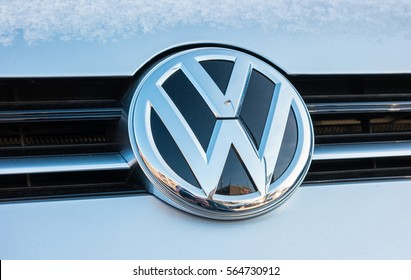 AACHEN, GERMANY JANUARY, 2017: Sign of a Volkswagen logo on a car at winter. Volkswagen is a company of the Volkswagen Group.