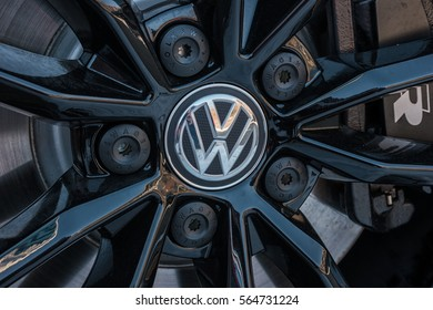 AACHEN, GERMANY JANUARY, 2017: Sign of a Volkswagen logo on a car rim.. Volkswagen is the biggest German automaker and the third largest automaker in the world.