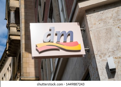 AACHEN, GERMANY JULY 2019: Dm drogeriemarkt store. Headquartered in Karlsruhe, Dm-drogerie markt is a chain of retail drugstore chain for cosmetics, healthcare and household products and food.
