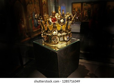 Aachen, Germany -  July 24, 2015: Replica of golden crown of Margaret of York (1461), sister of Richard III, decorated with pearls and gems in Cathedral Treasury (Aachener Dom). Treasures of kings.