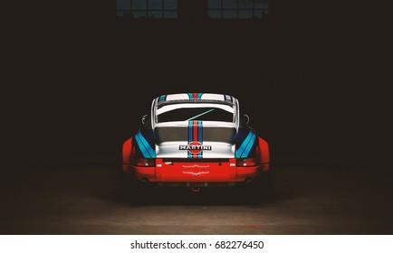 Aachen, Germany, June 14, 2013: Arranged Street shot of an historic Martini racing Porsche 911.