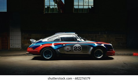 Aachen, Germany, June 14, 2013: Arranged Street shot of an historic Martini racing Porsche 911.