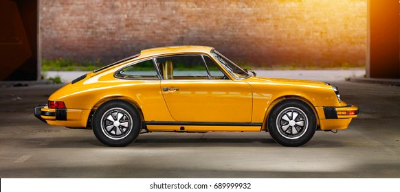 Aachen, Germany, June 14, 2013: Arranged Street shot of an historic Porsche 911.