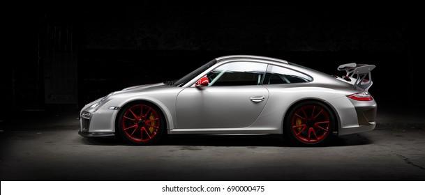 Aachen, Germany, June 14, 2013: Arranged Street shot of a Porsche 911 racing car, modell 997 gt3.
