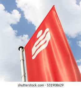 AACHEN, GERMANY JUNI 16, 2016: Logo Flag of a German Sparkasse (Savings Bank). Based on OECD studies, the German public banking system had a share of 40% of total banking assets in Germany.
