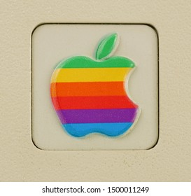 Aachen, Germany - March 14, 2014: Studioshot of an original Macintosh 128k called Apple Macintosh on white background. This was the first produced Mac, released on january 1984