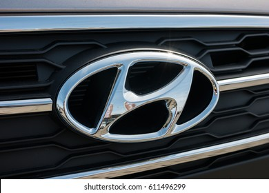 AACHEN, GERMANY MARCH, 2017: Hyundai logo on a car grilll. Hyundai Motor Company is a South Korean multinational automotive manufacturer founded at 1967.