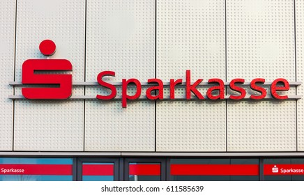 AACHEN, GERMANY MARCH, 2017: Logo of a the German Sparkasse (Savings Bank). Based on OECD studies, the German public banking system had a share of 40% of total banking assets in Germany.