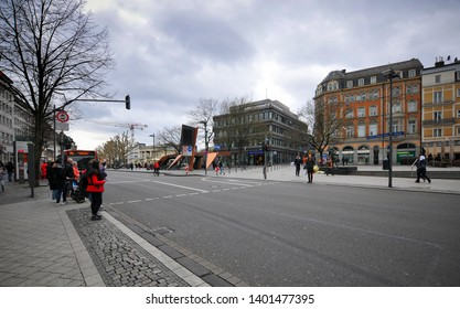 Aachen/ Germany - May 18 2019: people walking on one of the busy streets in Aachen Central