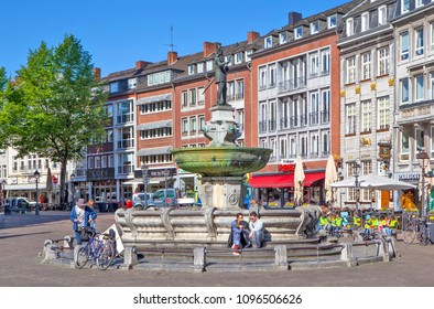 AACHEN, GERMANY - MAY 2, 2018: Photo of Fountain of Charlemagne.