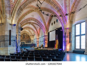 Aachen, Germany - Novembe 9 2018: Gothic style Coronation Hall of Aachen Town Hall, built in 14th century to host the coronation dinner and sign of their civic freedom.