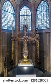 Aachen, Germany - Novembe 9 2018: Replicas of the Imperial Regalia from the Viennese Imperial Treasury, permanently exhibited in the Coronation Hall of Aachen Town Hall.