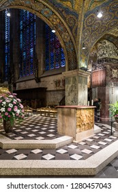Aachen, Germany - November 9 2018: The Altar with 11th century Golden Antependium (italian: Pala d'oro) in the Palatine Chapel of the Imperial Cathedral