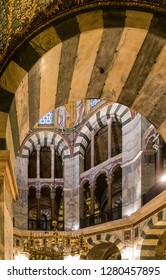 Aachen, Germany - November 9 2018: Interior of the Palatine Chapel in the Imperial Cathedral