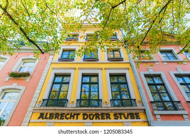 Aachen, Germany - October 12, 2018: facade of a historical building in the old town of Aachen. Aachen is a spa town in North Rhine-Westphalia and was residence of Charlemagne