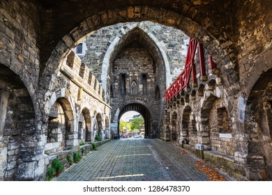 Aachen, Germany - October 12, 2018: historical Ponttor with unidentified people. The Ponttor is one of the two remaining gates of the original city wall of Aachen, built in the 14th century
