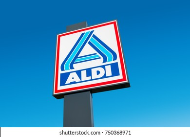 AACHEN, GERMANY OCTOBER, 2017: Aldi sign (north division) against blue sky. Aldi is a leading global discount supermarket chain with almost 10,000 stores in 18 countries.