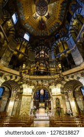 AACHEN, GERMANY -  SEP 26, 2016: Aachen Cathedral, the Cathedral of Aix-la-Chapelle, Roman Catholic church, one of the oldest cathedrals in Europe, consecrated in 805
