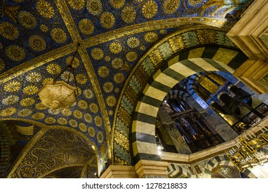 AACHEN, GERMANY -  SEP 26, 2016: Aachen Cathedral, the Cathedral of Aix-la-Chapelle, Roman Catholic church, one of the oldest cathedrals in Europe, consecrated in 805. Interior details