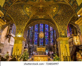 AACHEN, GERMANY - SEPTEMBER 5, 2013: Carolingian Octagon (Palatine chapel) in Aachen Cathedral, Germany.
