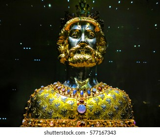 AACHEN, GERMANY-DECEMBER 15, 2014: The Bust of Charlemagne is a reliquary created around 1350, in which the Karl the Great´s cranium is kept as a relic.
