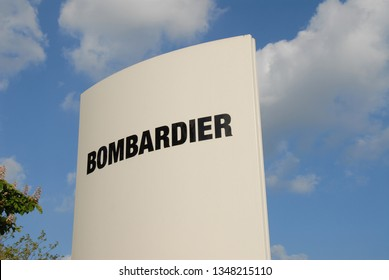 Aachen, North Rhine-Westphalia / Germany - May 23, 2010: Logo of Bombarier Inc. in Aachen , Germany - Bombardier is a multinational aerospace and transportation company based in Montreal, Canada