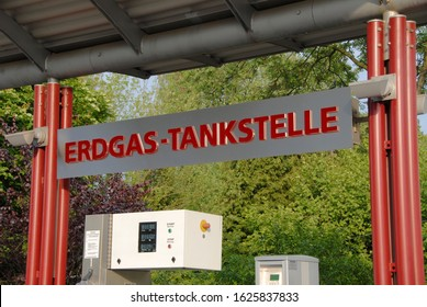 Aachen, North Rhine-Westphalia / Germany - May 15, 2007: CNG station in Aachen, Germany - Erdgas Tankstelle - CNG is a fuel and is made by compressing natural gas