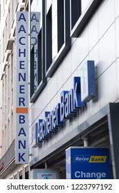aachen, North Rhine-Westphalia/germany - 06 11 18: aachener bank sign in aachen germany