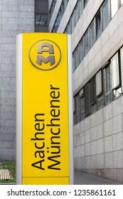 aachen, North Rhine-Westphalia/germany - 06 11 18: aachener münchener sign in aachen germany