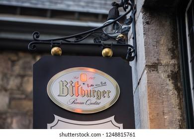 aachen, North Rhine-Westphalia/germany - 06 11 18: bitburger sign in aachen germany