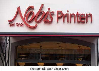 aachen, North Rhine-Westphalia/germany - 06 11 18: nobis printen sign in aachen germany