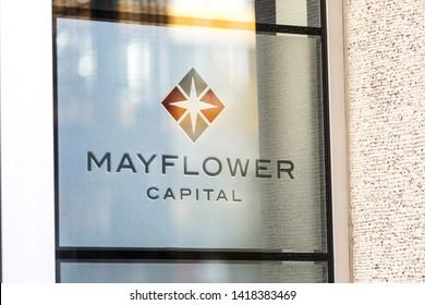 aachen, North Rhine-Westphalia/germany - 06 11 18: mayflower capital sign in aachen germany