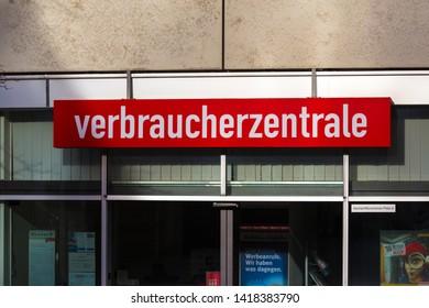 aachen, North Rhine-Westphalia/germany - 06 11 18: verbraucherzentrale sign in aachen germany