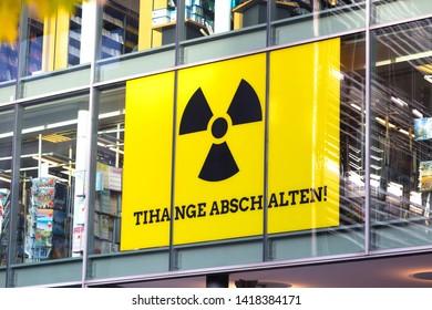 aachen, North Rhine-Westphalia/germany - 06 11 18: tihange abeschalten sign in aachen germany
