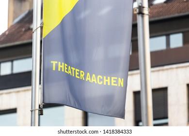aachen, North Rhine-Westphalia/germany - 06 11 18: theater aachen flag in aachen germany