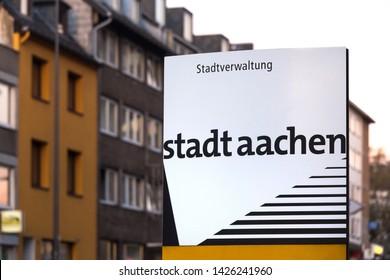 aachen, North Rhine-Westphalia/germany - 06 11 18: stadt aachen sign in aachen germany