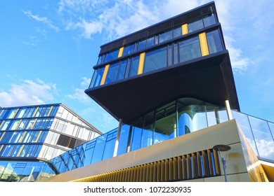 AACHEN, NRW / GERMANY - MARCH 29, 2018: Street view of the modern headquarter office building of the AachenMuenchener insurance company, Aachen, designed by kadawittfeldarchitektur, Aachen, Berlin.