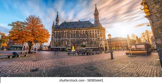 Aachen town hall during autumn