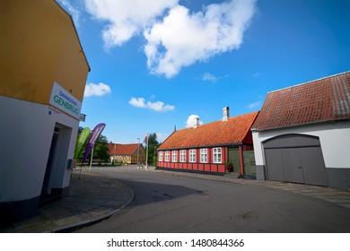 AAKIRKEBY, DENMARK - JULY 2 - 2019: Idyllic village of Aakirkeby on the island of bornholm in Denmark