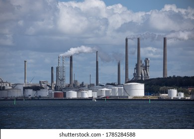 Aalborg, Denmark - 20th July 2020: The Portland Cement Factory seen from the fjord of Aalborg
