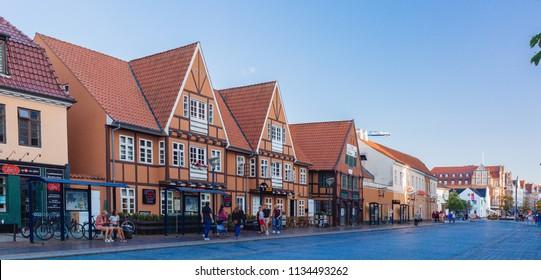 Aalborg / Denmark - July 2018: Walking around the city
