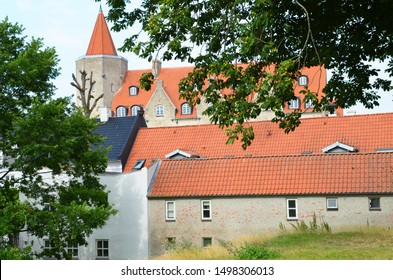 Aalborg / Denmark - July 28 2019: Jesens Bofgus building tower at Nytorv square over th old city roofs viewed from Aalborg castle  - Shutterstock ID 1498306013